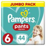 PAMPERS Pants 6, 44 ks (15+ kg) JUMBO Pack - plenkové kalhotky