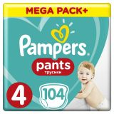 PAMPERS Pants 4, 104ks (9-14kg) MEGA Box - plenkové kalhotky