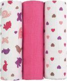 T-TOMI Tetra pleny, růžoví šneci, sada 3 ks - Top kvalita