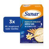 3x SUNAR Krupicová kašička s vanilkou na dobrou noc (225 g) - mléčná kaše