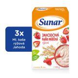 3x SUNAR Jahodová kašička (225 g) - mléčná kaše