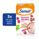 3x SUNAR Malinová kašička (225 g) - mléčná kaše