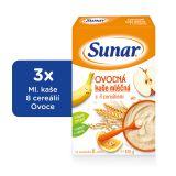 3x SUNAR Ovocná kašička (225 g) - mléčná kaše