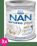 3x NESTLÉ NAN OPTIPRO Plus 1 HM-O (800 g) Mleko początkowe w proszku dla niemowląt od urodzenia 0+