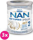 3x NESTLÉ NAN OPTIPRO Plus 2 HM-O (800 g) Mleko modyfikowane 6m+, puszka