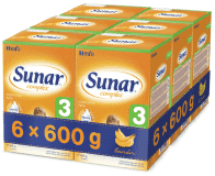 6x SUNAR Complex 3 BANÁN (600 g) - dojčenské mlieko