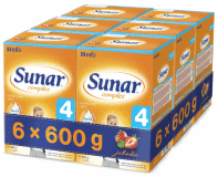 6x SUNAR Complex 4 JAHODA (600 g) - dojčenské mlieko