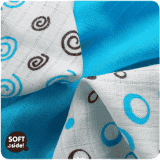 KIKKO Bambusowe chusteczki Spirals&Bubbles 30x30 (9 szt.) – cyan