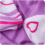 KIKKO Bambusowe chusteczki Hearts&Waves 30x30 (9 szt.) - lilac