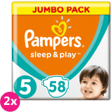 2x PAMPERS Sleep & Play 5 JUNIOR 58ks (11-16 kg) JUMBO PACK - jednorázové plienky