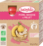 4x BABYBIO Gruszka banan proso 6m+ (90 g) – deserek w tubce