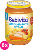 6x BEBIVITA Zelenina - špagety s krůtím masem (190 g) - masozeleninový příkrm