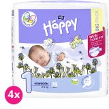 4x BELLA HAPPY Newborn 1 (2-5 kg) Big Pack 78 ks - jednorazové plienky