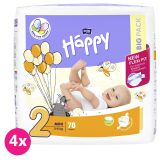 4x BELLA HAPPY Mini 2 (3-6 kg) Big Pack 78 ks - jednorazové plienky