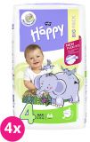 4x BELLA HAPPY Maxi Big Pack 4 (8-18 kg) 66 ks - jednorazové plienky