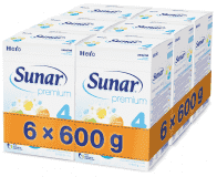 6x SUNAR Premium 4 (600 g) - dojčenské mlieko