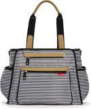 SKIP HOP Přebalovací taška s podložkou Grand Central, černo/bílý proužek