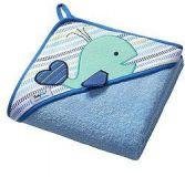 BABYONO Ręcznik z kapturem frotté 100x100 Wieloryb – niebieski