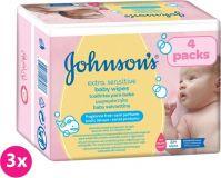 3x JOHNSON'S Baby Extra Sensitive 224 ks - čistiace obrúsky