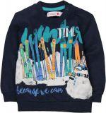 BOBOLI Mikina lyže, vel. 92 - modrá, kluk