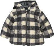 BOBOLI Chlupatá zimní bunda, vel. 104 - šedá/kostka, kluk