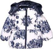 BOBOLI Zimní bunda dívčí oboustranná kytky, vel. 98 - modrá, holka
