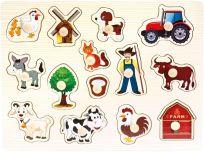 BINO Dřevěné puzzle farma, 14 dílků