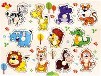 BINO Dřevěné puzzle safari, 11 dílků