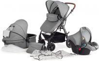 KINDERKRAFT Wózek wielofunkcyjny 3w1 MOOV + Fotelik samochodowy – grey