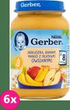 6x GERBER Deserek jabłuszka, baNANy, mango z płatkami owsianymi 190g