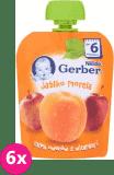 6x GERBER Deserek (90 g) Jabłko Morela 6m+