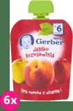 6x GERBER Deserek (90 g) Jabłko Brzoskwinia 6m+