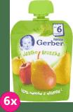 6x GERBER Deserek (90 g) Jabłko Gruszka 6m+