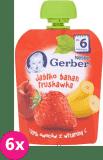6x GERBER Deserek (90 g) Jabłko Banan Truskawka 6m+