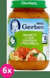 6x GERBER Spaghetti w sosie pomidorowym z mozzarellą (190 g) – obiadek