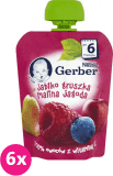 6x GERBER Deserek (90 g) Jabłko Gruszka Malina Jagoda 6m+