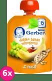 6x GERBER Jabłko banan winogrona z musli (6m+) – tubka 90g