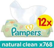 12x PAMPERS Natural Clean z wieczkiem 64 szt. - chusteczki nawilżane