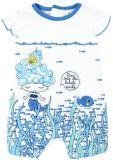 BOBOLI Krátký letní overal mořská panna, 62 cm - bílá/potisk, holky
