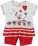 BOBOLI Letni pajacyk à la koszulka z falbanką i spodenkami, rozm. 62 cm – biały/czerwony, dziewczynk