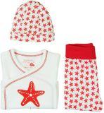 BOBOLI Súprava 3ks - čiapočka, tričko, polodupačky, 56 cm - biela / červená potlač, uni