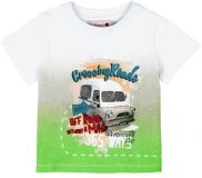 BOBOLI Koszulka krótki rękaw samochód, rozm. 80 cm – biała/zielona, chłopczyk