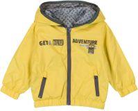 BOBOLI Oboustranná bunda s kapucí, 68 cm - žlutá/šedá/potisk, kluci