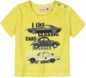 BOBOLI Tričko krátký rukáv - auto, 80 cm - žlutá/potisk, kluci