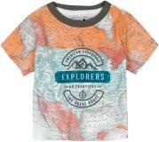 BOBOLI Tričko krátky rukáv mapa, 98 cm - oranžová / potlač, chlapec