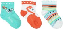 BOBOLI Set ponožek 3 ks, 25/27 - tyrkysová/potisk, holky