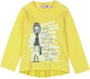 BOBOLI Dívčí triko dlouhý rukáv, 92 cm - žlutá, holky
