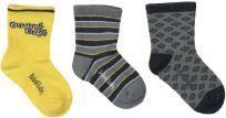 BOBOLI Set ponožek 3 ks, 16/18 - žlutá/potisk, holky