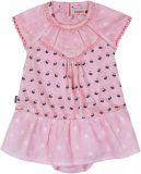 BOBOLI Dívčí kombinované šaty s kalhotkami, 98 cm - růžová/potisk, holky