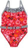 BOBOLI Jednodílné dívčí plavky, 104 cm - červená / potisk, holky